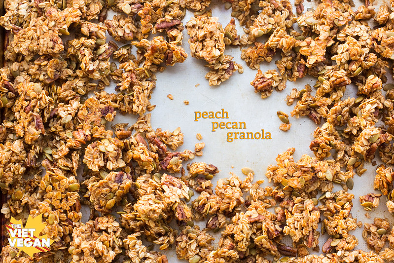 Peach Peach Granola | The Viet Vegan | Clumps of irresistibly crunchy, peachy, granola.