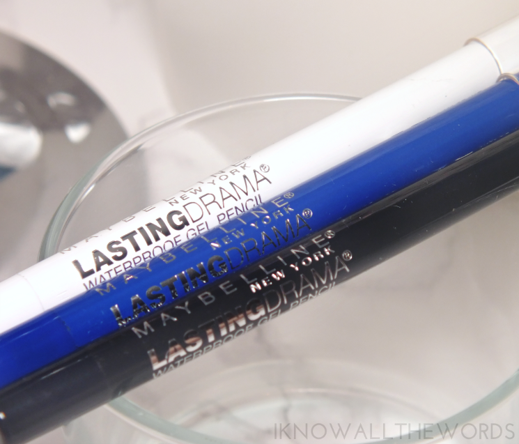 Maybelline Lasting Drama Waterproof Gel Pencil Cashmere White, Lustrus Sapphire, and Smooth Charcoal (4)