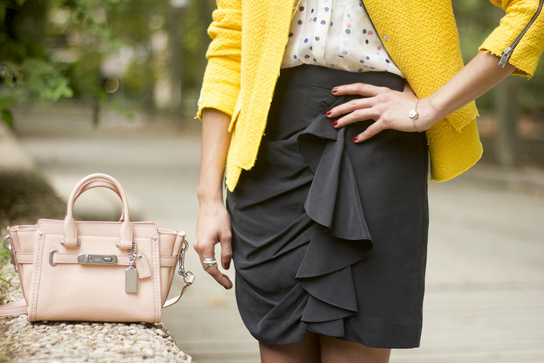 Yellow Jacket Draped Grey Skirt Outfit20