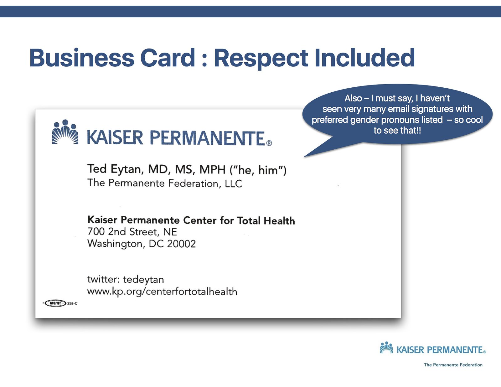Ted Eytan MD Business Card with Pronouns