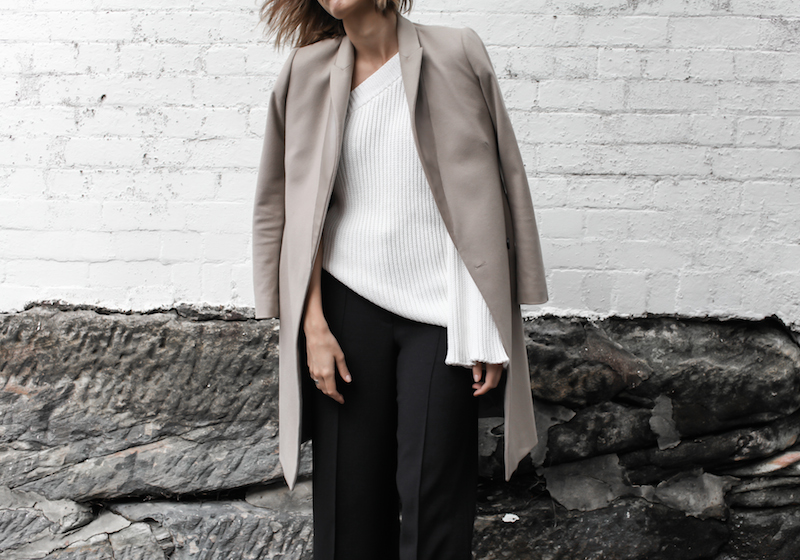 asymmetric shoulder knit, bell sleeve, camel coat, transitional outfit, street style, fashion blogger, modern legacy