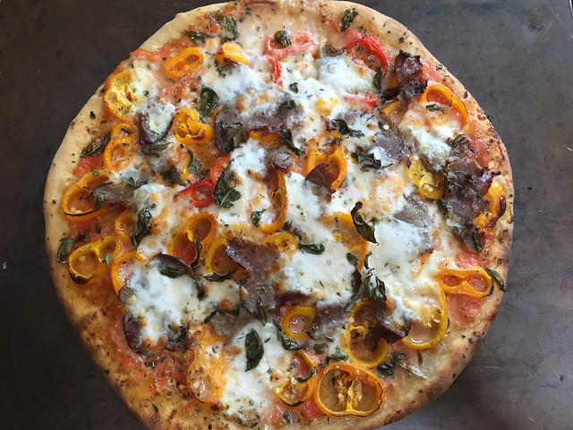 Roast Beef/Sweet Mini Peppers Pizza