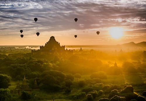 Sunrise in Bagan Temples, Myanmar