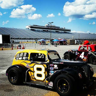 It's race day and we've got blue skies with puffy white clouds! #8 #HooliganMotorsports #uslegendscars #inex #legendscars #nhms #GraniteStateLegends #legendsracing #racecar @nhms #raceday #racing