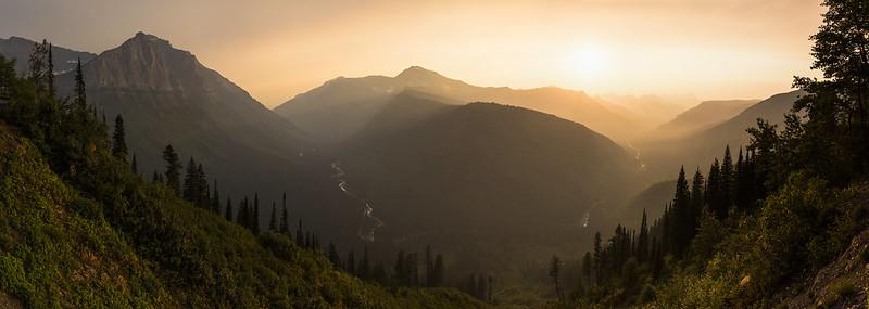 Hazy Sunset in Lake McDonald Valley