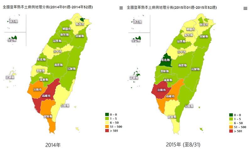 2014、2015全國登革熱本土病例分布圖。資料來源:衛生福利部疾病管制署。