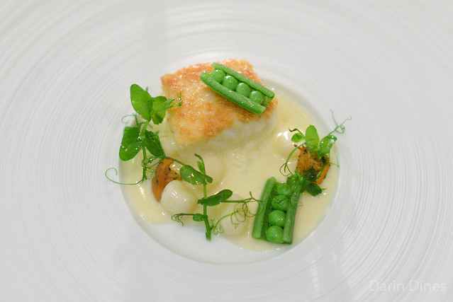 """PAVÉ"" OF ATLANTIC HALIBUT Russet Potato ""Gnocchi,"" Chanterelle Mushrooms, Sugar Snap Peas and ""Vin Jaune"" Emulsion"