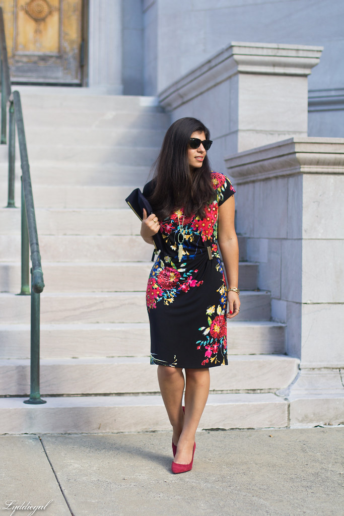 floral print dress, red pumps, clare v clutch.jpg
