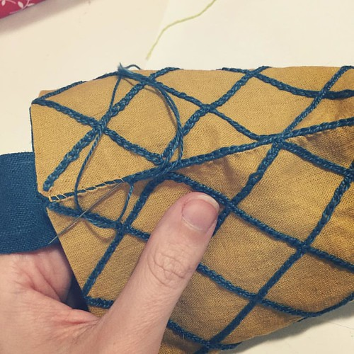 Finishing up the edges of the pouch with chain stitch.