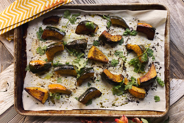 Garam Masala Roasted Acorn Squash Wedges