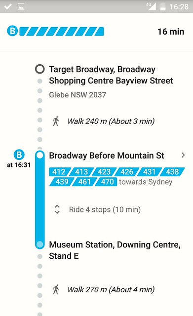 Google Transit Maps in Sydney - the info was wrong, the bus didn't go to the Downing Centre