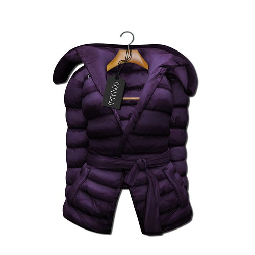 {MYNX} Puffy Tie Jacket - Plum Ad