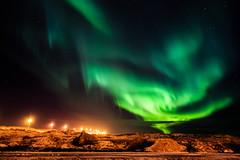 Dancing Aurora Borealis at Straumur, Hafnarfjordur, Iceland