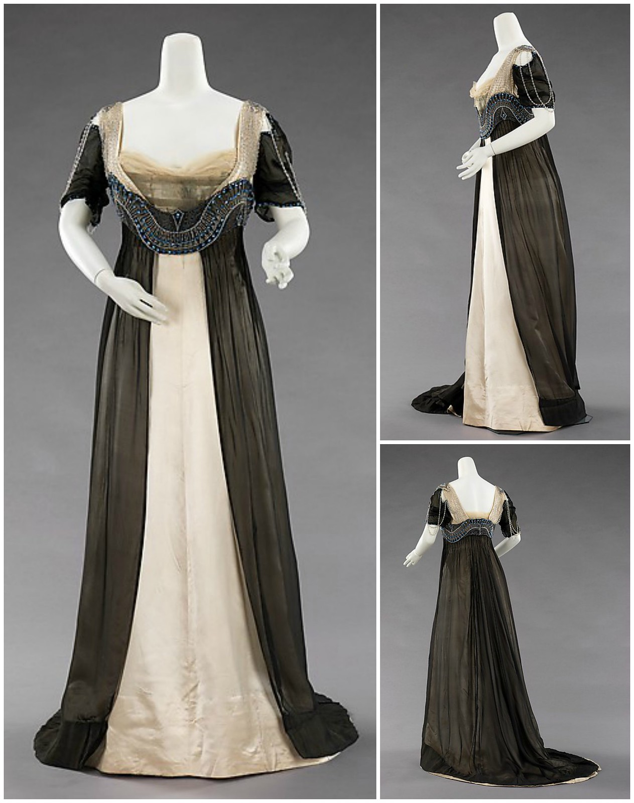 1911 Evening Dress. Silk, metal, glass. metmuseum