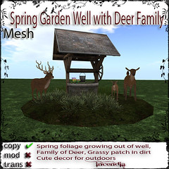 Spring Garden Well with Deer Family