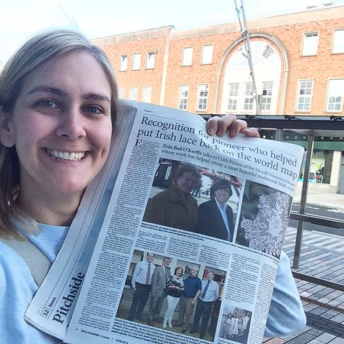Do you know how many weird looks you get when taking a #selfie with a newspaper on Pana? But it's my #byline, so it isn't weird! #irishexaminer #lacemaking