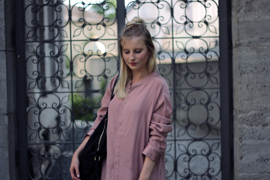 outfit red lips blogger fashion frankfurt blouse bluse oversized location beauty pink rosa vintage