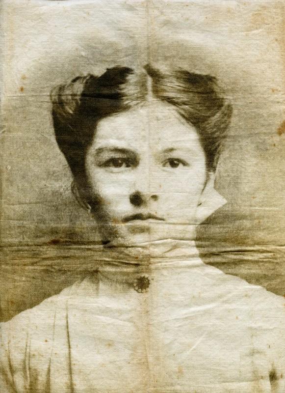 Victorian photograph portrait on linen cloth