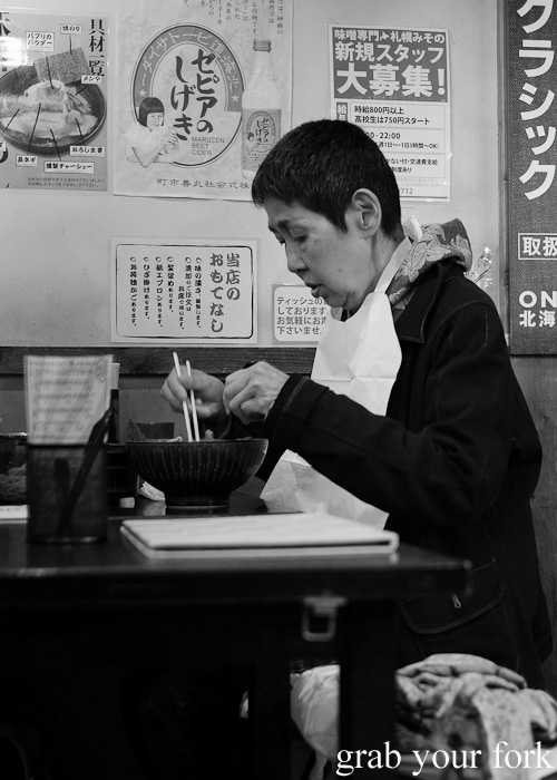 Misono ramen customer at Sapporo Ramen Kyowakoku or Sapporo Ramen Alley, Hokkaido