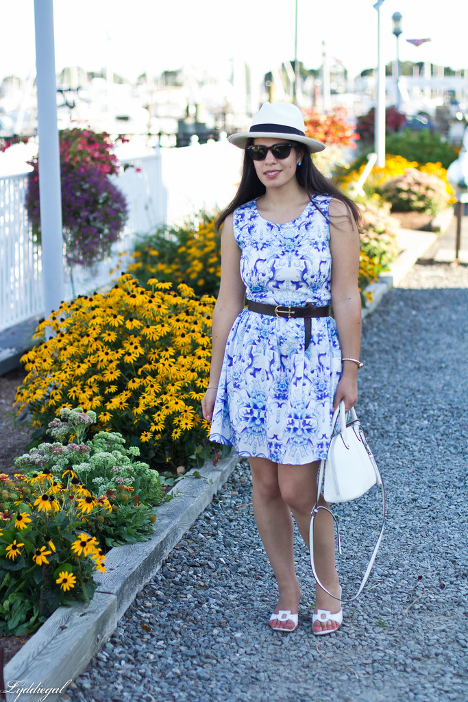 blue and white porcelain print dress, panama hat_.jpg