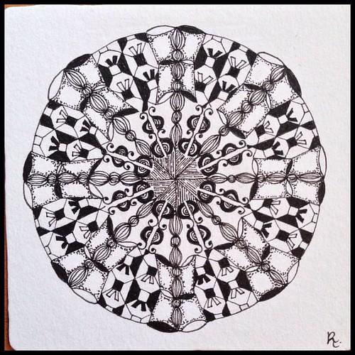 Zentangle 100, for Zendala Dare #110