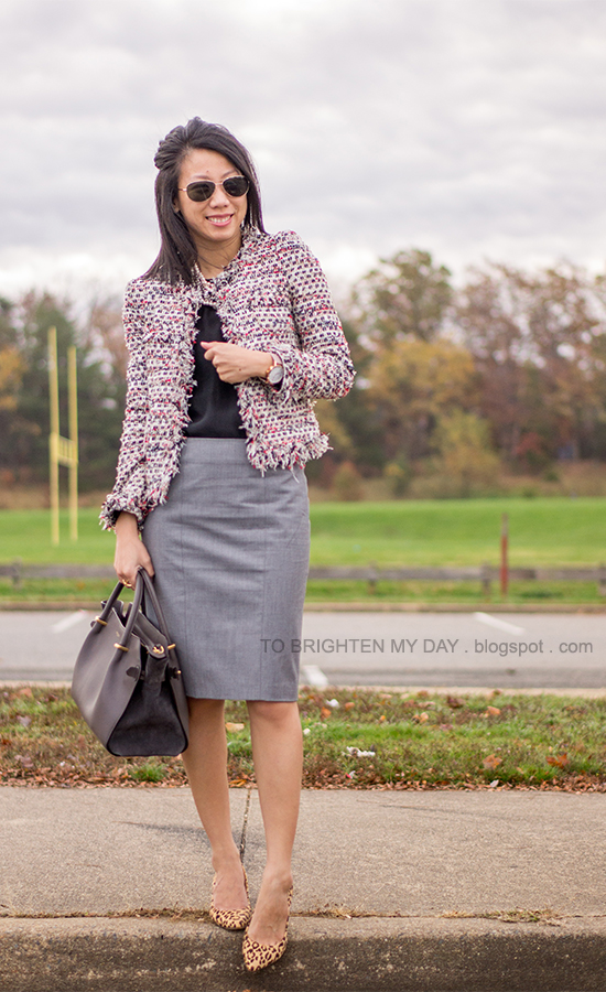 tweed jacket, mixed metal necklace, oversized watch, gray pencil skirt, leopard pumps