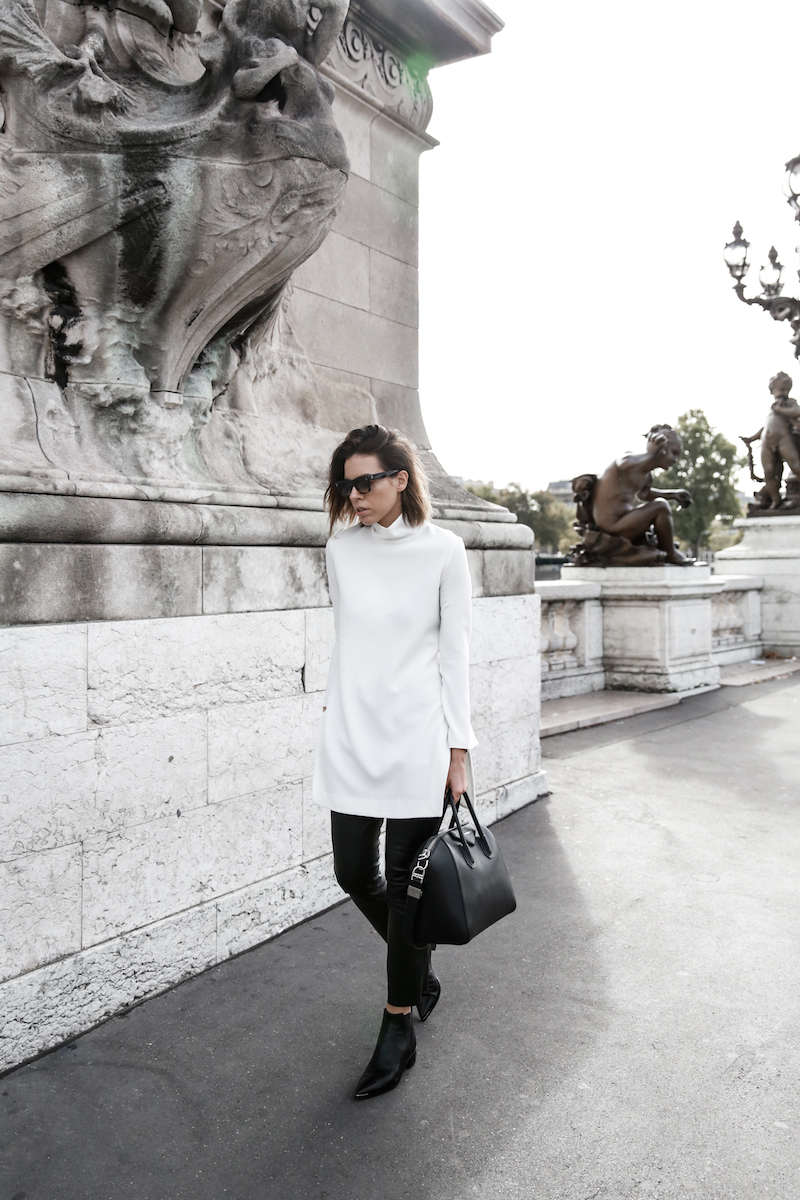 monochrome street style, outfit, inspo, Ellery, Super Creep tunic top, Bassike leather pants, Acne Jensen ankle boots, Givenchy Antigona medium, Céline ombre sunglasses, fashion blog, modern legacy (2 of 13)