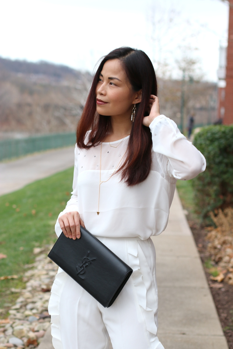 French-Connection-Holiday-white-blouse-necklace-clutch-7
