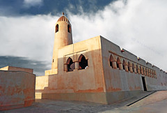 Qatar, Doha, Pigeons mosque with traditional qatari minaret