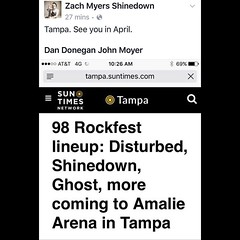 Via Zach: Tampa. See you in April. #Shinedown #ZachMyers