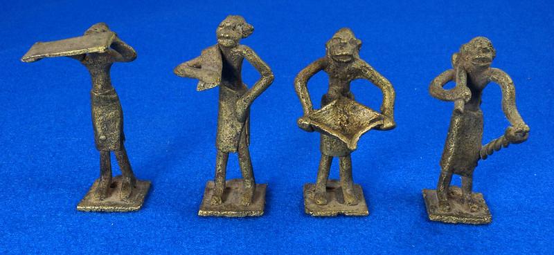 RD15105 4 Vintage African Hand Made Folk Art Primitive Figurines Solid Cast Brass Burkina Faso Yoruba West Africa DSC07118