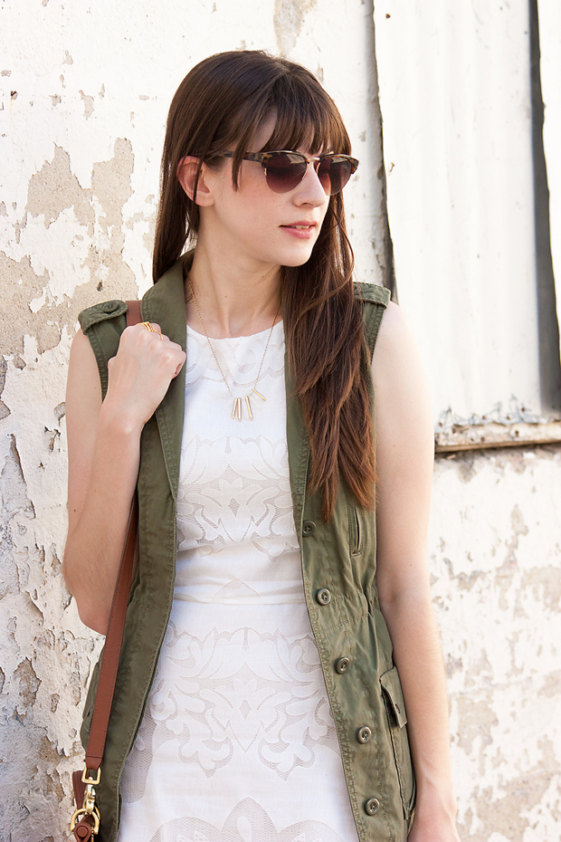 White Lace Dress, Green Utility Vest, Loft Sunglasses