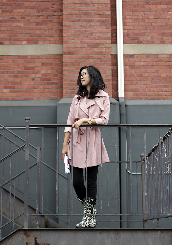 emerging thoughts dahlia pink trench coat