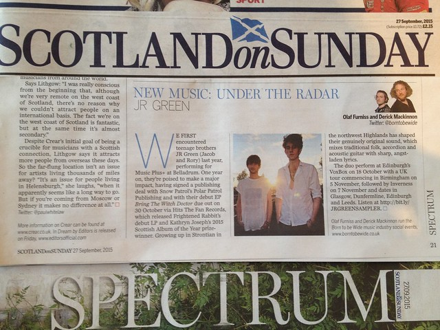 Olaf Furniss and Derick Mackinnon, Scotland On Sunday, Spectrum Magazine, 27 September 2015, JR Green