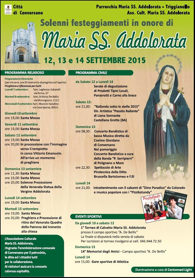 Conversano- SOlenni festeggiamenti in onore di MAria SS Addolorata