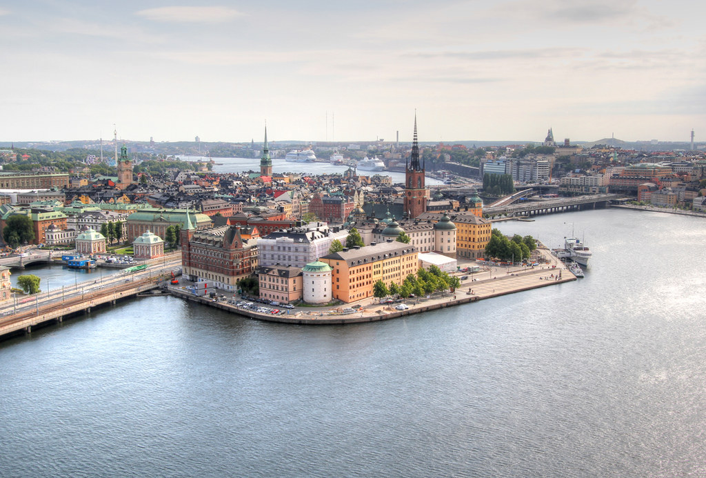 View of Stockholm's beautiful old town from the tower of the town hall.