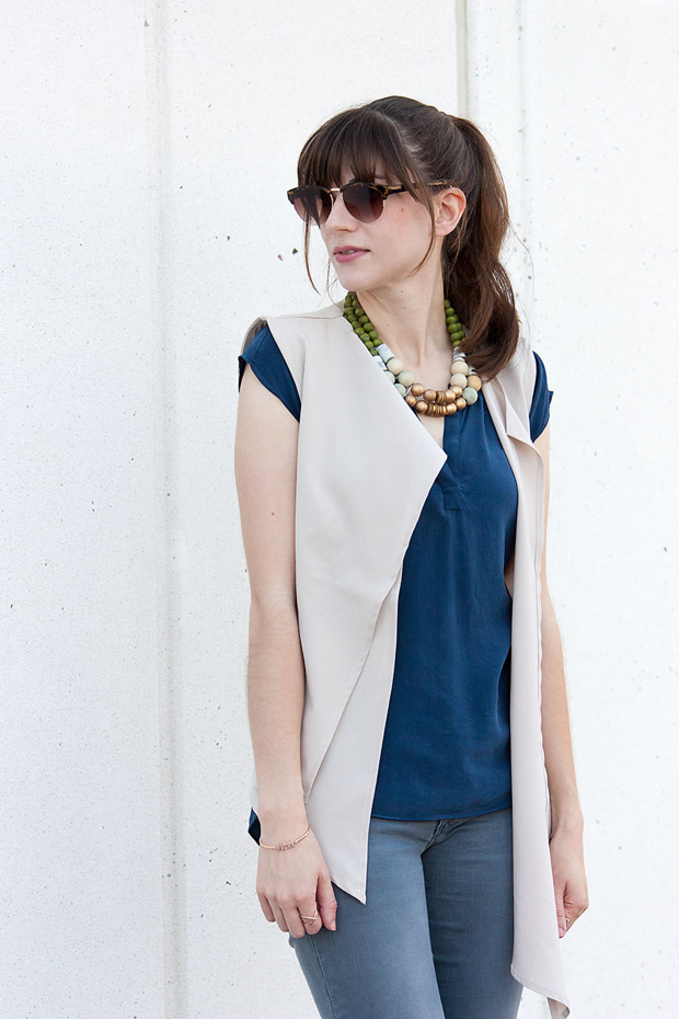 Statement Necklace, History and Industry, Longline Vest, Blue Silk Top