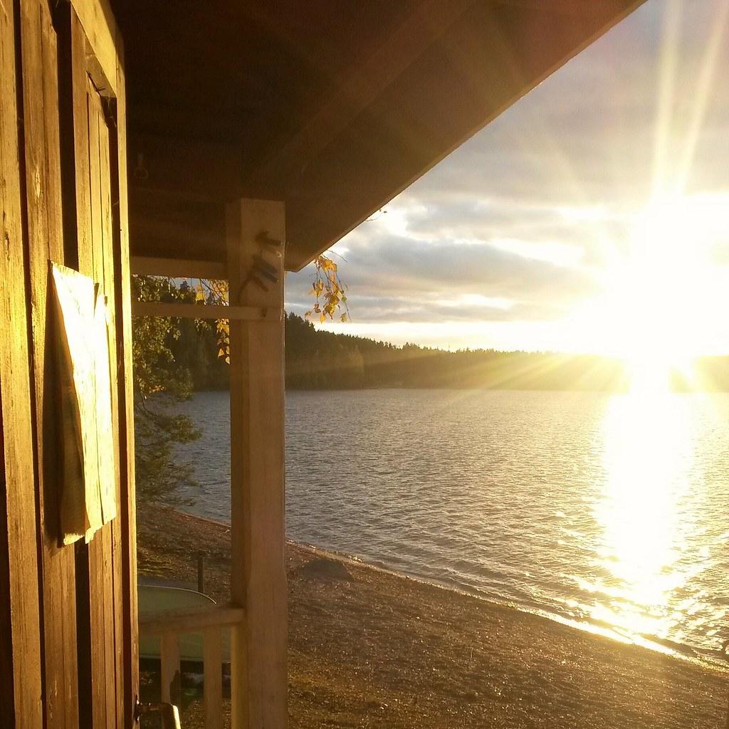 Auringonlasku ja sauna, Luumäki, Suomi
