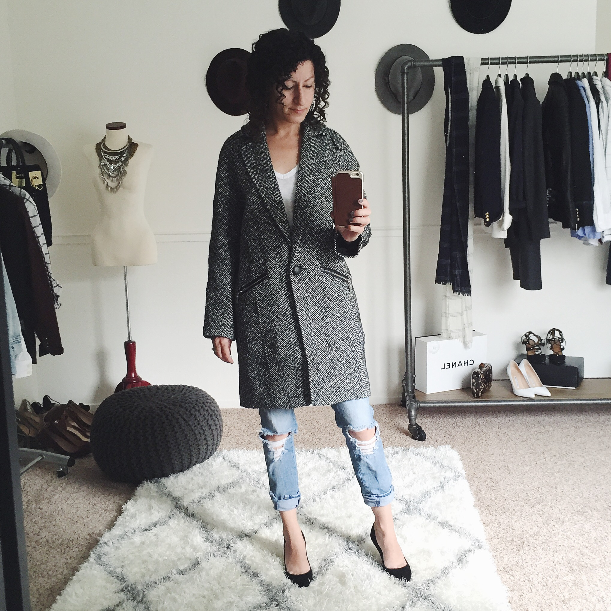 white house black market petite herringbone coat