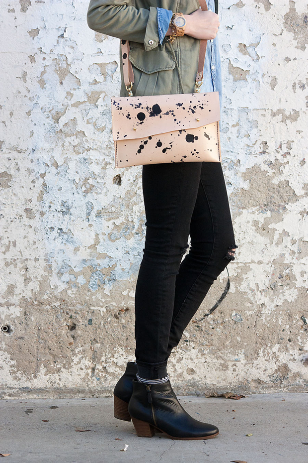 Walter & George Laura Clutch, Leather Crossbody Clutch, Ripped Black Denim, Black Booties