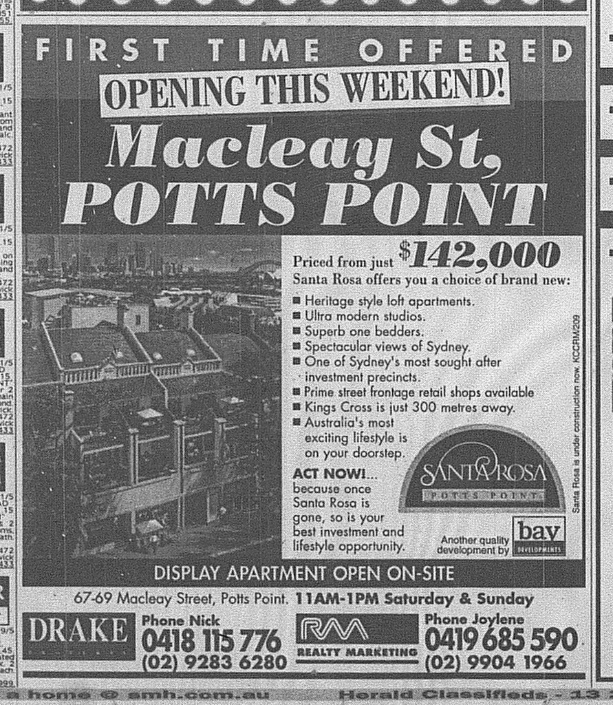 Santa Rosa Potts Point Ad SMH May 2 1998 22RE