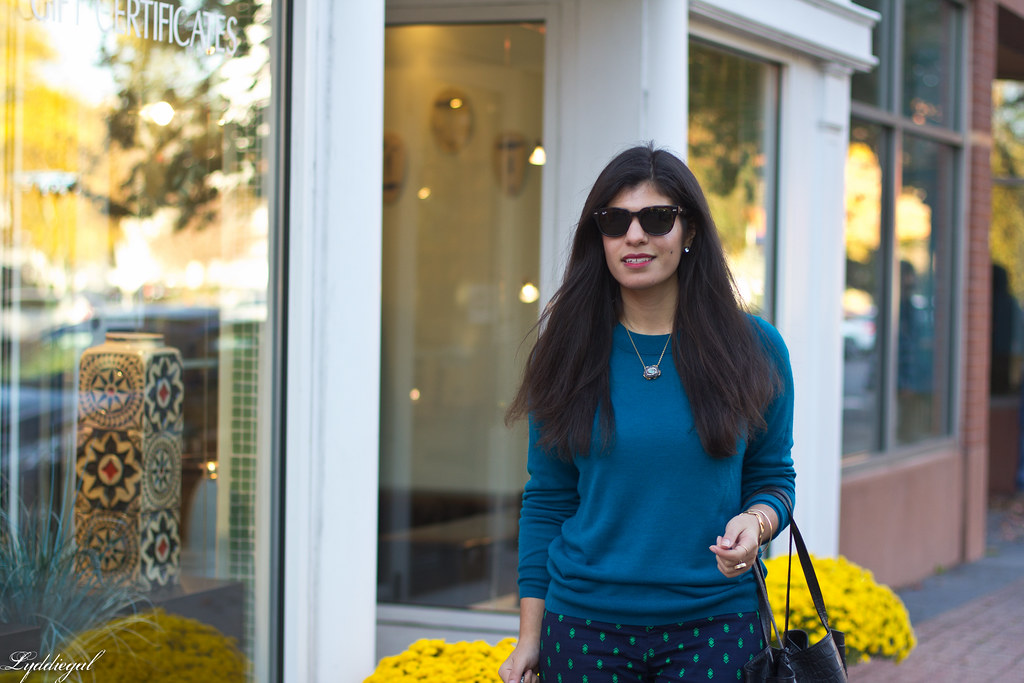 teal sweater, printed pants, ferragamo pumps-1.jpg