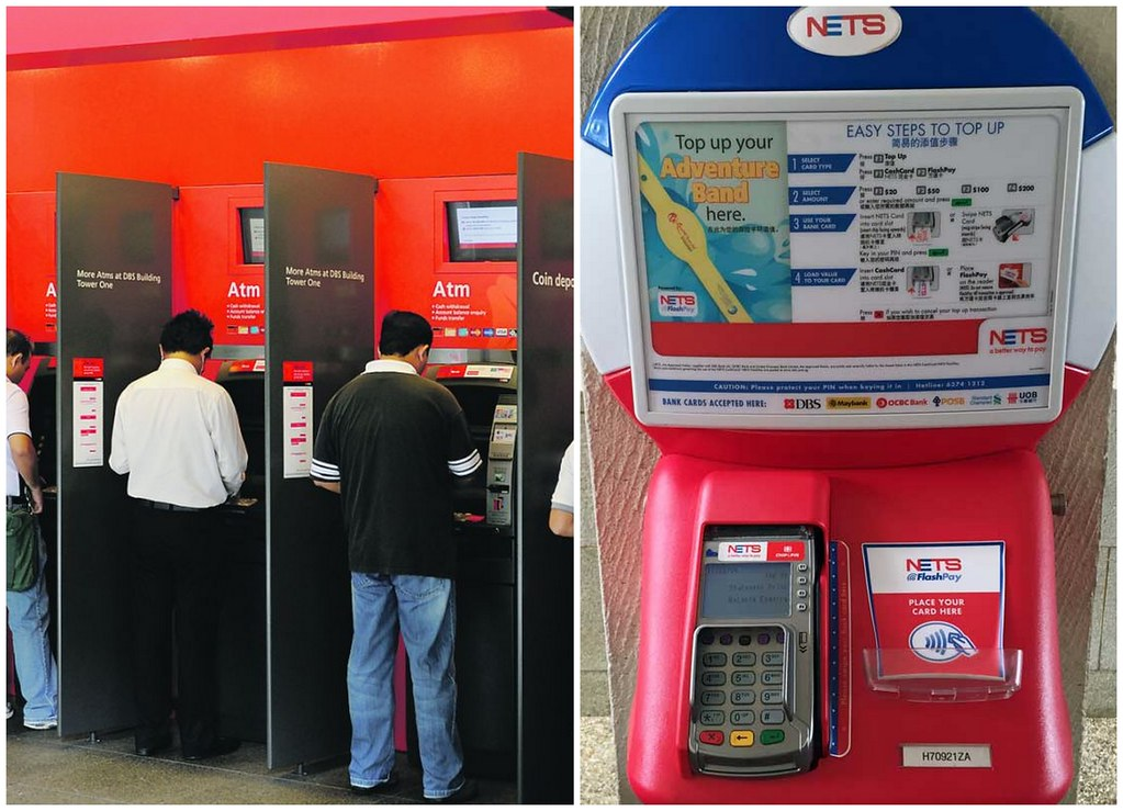 NETS FlashPay Local bank ATM (DBS/POSB, OCBC & UOB) & NETS self-service top-up machine