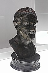 """Small bust of Demosthenes with his name engraved on his chest thus providing the countenance of the orator - Herculaneum, Villa of Papyri - bronze 1st century BC based on an original early 3rd century BC - Exhibition """"Charles of Bourbon [Carlos III] and t"""