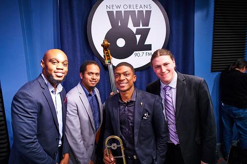 David Harris Quartet at WWOZ: Gerald Watkins (drums), Jasen Weaver (bass), David Harris (trombone and vocals), Daniel Meinecke (piano). Photo by Eli Mergel
