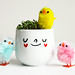 Happy Easter egg cup with chicks