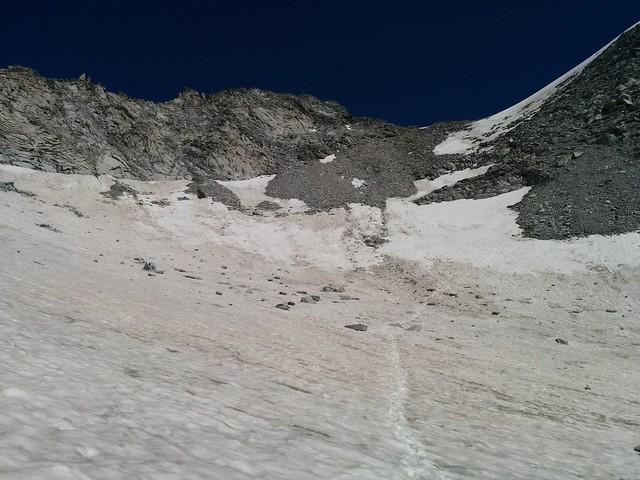 Aufstieg Möseler-Sattel durch das Schneefeld