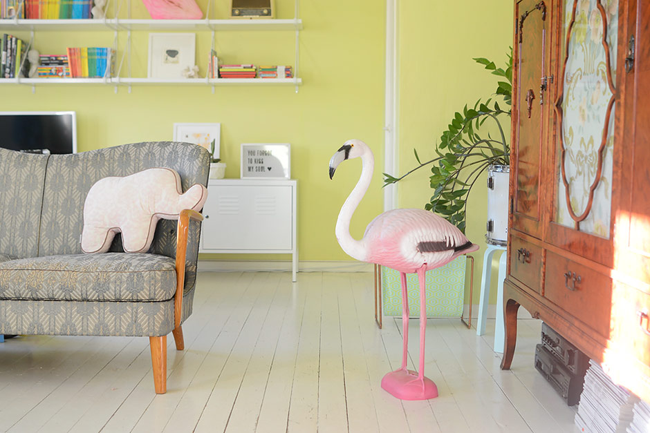 Mr. Flamingo moved indoors