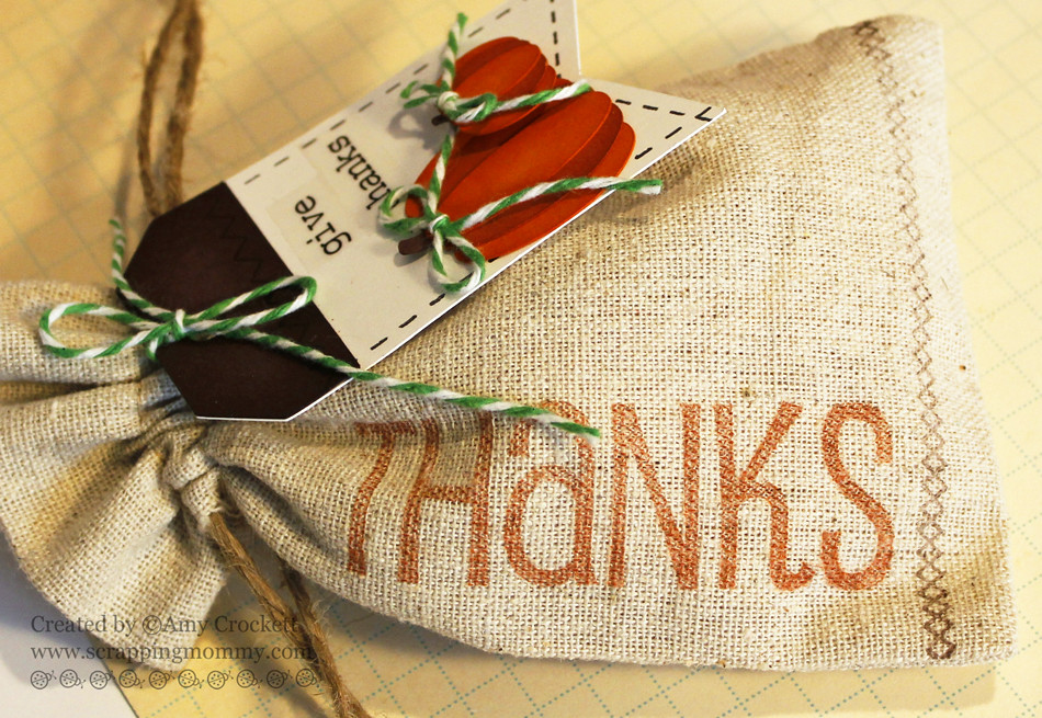 SRM Stickers Blog - Give Thanks Linen Bag & Tag by Amy - #linen #bag #BIGStamps #Thanks #thankyou #clearstamps, #fall, #autumn #stickers #stampedstitches #giftbag #treatbag #DIY
