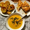 A #latergram dinner - fried green tomatoes and cheese borek and lentil soup. It's how I used up our green tomatoes that survived the blight.